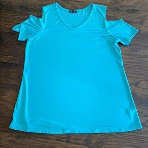 Women's aqua green cold shoulder tunic